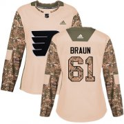 Wholesale Cheap Adidas Flyers #61 Justin Braun Camo Authentic 2017 Veterans Day Women's Stitched NHL Jersey