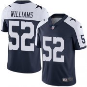 Wholesale Cheap Nike Cowboys #52 Connor Williams Navy Blue Thanksgiving Men's Stitched NFL Vapor Untouchable Limited Throwback Jersey