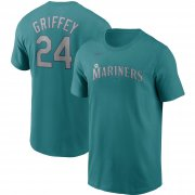 Wholesale Cheap Seattle Mariners #24 Ken Griffey Jr. Nike Cooperstown Collection Name & Number T-Shirt Aqua