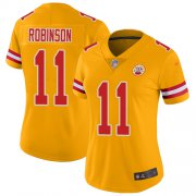 Wholesale Cheap Nike Chiefs #11 Demarcus Robinson Gold Women's Stitched NFL Limited Inverted Legend Jersey