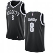 Wholesale Cheap Men's Brooklyn Nets #8 Spencer Dinwiddie Swingman Black Icon Edition Nike Jersey