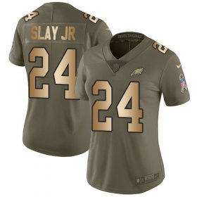 Wholesale Cheap Nike Eagles #24 Darius Slay Jr Olive/Gold Women\'s Stitched NFL Limited 2017 Salute To Service Jersey