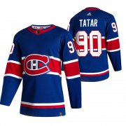 Wholesale Cheap Montreal Canadiens #90 Tomas Tatar Blue Men's Adidas 2020-21 Reverse Retro Alternate NHL Jersey