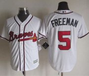 Wholesale Cheap Braves #5 Freddie Freeman White New Cool Base Stitched MLB Jersey