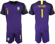 Wholesale Cheap Brazil #1 Alisson Purple Goalkeeper Soccer Country Jersey