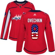 Wholesale Cheap Adidas Capitals #8 Alex Ovechkin Red Home Authentic USA Flag Women's Stitched NHL Jersey