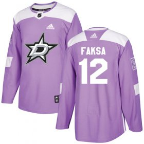Wholesale Cheap Adidas Stars #12 Radek Faksa Purple Authentic Fights Cancer Stitched NHL Jersey