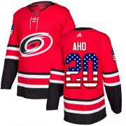 Wholesale Cheap Adidas Hurricanes #20 Sebastian Aho Red Home Authentic USA Flag Stitched Youth NHL Jersey