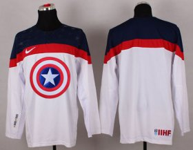 Wholesale Cheap Olympic Team USA Blank White Captain America Fashion Stitched NHL Jersey