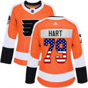 Wholesale Cheap Adidas Flyers #79 Carter Hart Orange Home Authentic USA Flag Women's Stitched NHL Jersey
