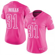 Wholesale Cheap Nike Eagles #31 Jalen Mills Pink Women's Stitched NFL Limited Rush Fashion Jersey