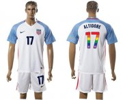 Wholesale Cheap USA #17 Altidore White Rainbow Soccer Country Jersey