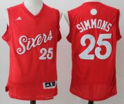 Wholesale Cheap Men's Philadelphia 76ers #25 Ben Simmons Red adidas Red 2016 Christmas Day Stitched NBA Swingman Jersey