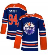 Wholesale Cheap Adidas Oilers #94 Ryan Smyth Royal Blue Sequin Embroidery Fashion Stitched NHL Jersey