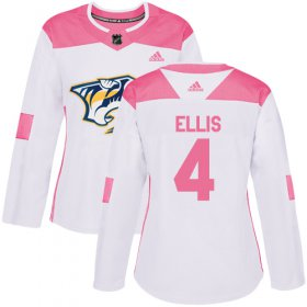 Wholesale Cheap Adidas Predators #4 Ryan Ellis White/Pink Authentic Fashion Women\'s Stitched NHL Jersey