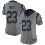 Wholesale Cheap Nike Rams #23 Cam Akers Gray Women's Stitched NFL Limited Inverted Legend Jersey