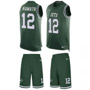 Wholesale Cheap Nike Jets #12 Joe Namath Green Team Color Men's Stitched NFL Limited Tank Top Suit Jersey