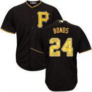 Wholesale Cheap Pirates #24 Barry Bonds Black Team Logo Fashion Stitched MLB Jersey