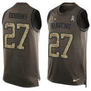 Wholesale Cheap Nike Ravens #27 J.K. Dobbins Green Men's Stitched NFL Limited Salute To Service Tank Top Jersey