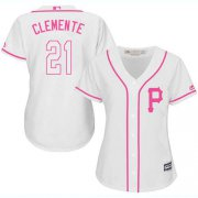 Wholesale Cheap Pirates #21 Roberto Clemente White/Pink Fashion Women's Stitched MLB Jersey