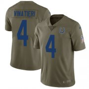 Wholesale Cheap Nike Colts #4 Adam Vinatieri Olive Men's Stitched NFL Limited 2017 Salute to Service Jersey