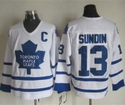 Wholesale Maple Leafs #13 Mats Sundin White CCM Throwback Stitched NHL Jersey