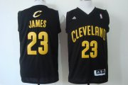 Wholesale Cheap Cleveland Cavaliers #23 LeBron James Revolution 30 Swingman Black With Gold Jersey