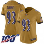 Wholesale Cheap Nike Ravens #93 Calais Campbell Gold Women's Stitched NFL Limited Inverted Legend 100th Season Jersey