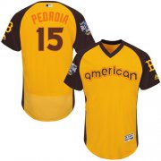 Wholesale Cheap Red Sox #15 Dustin Pedroia Gold Flexbase Authentic Collection 2016 All-Star American League Stitched MLB Jersey