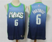 Wholesale Cheap Men's Dallas Mavericks #6 Kristaps Porzingis Blue 2020 Nike City Edition Swingman Jersey