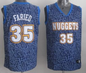 Wholesale Cheap Denver Nuggets #35 Kenneth Faried Blue Leopard Print Fashion Jersey