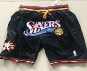 Wholesale Cheap Men's Philadelphia 76ers 1999-00 Black Just Don Shorts Swingman Shorts