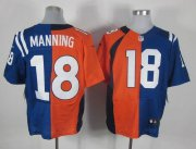 Wholesale Cheap Nike Colts #18 Peyton Manning Orange/Royal Blue Men's Stitched NFL Elite Split Broncos Jersey