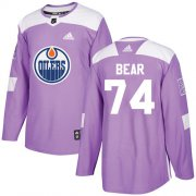 Wholesale Cheap Adidas Oilers #74 Ethan Bear Purple Authentic Fights Cancer Stitched NHL Jersey