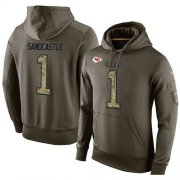 Wholesale Cheap NFL Men's Nike Kansas City Chiefs #1 Leon Sandcastle Stitched Green Olive Salute To Service KO Performance Hoodie