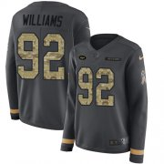 Wholesale Cheap Nike Jets #92 Leonard Williams Anthracite Salute to Service Women's Stitched NFL Limited Therma Long Sleeve Jersey