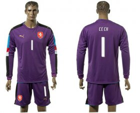 Wholesale Cheap Czech #1 Cech Purple Goalkeeper Long Sleeves Soccer Country Jersey