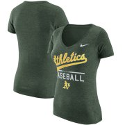 Wholesale Cheap Oakland Athletics Nike Women's Practice 1.7 Tri-Blend V-Neck T-Shirt Heathered Green