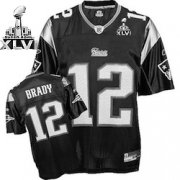Wholesale Cheap Patriots #12 Tom Brady Black Shadow Super Bowl XLVI Embroidered NFL Jersey