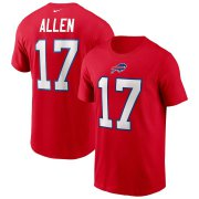 Wholesale Cheap Buffalo Bills #17 Josh Allen Nike Team Player Name & Number T-Shirt Red