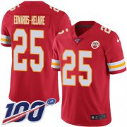 Wholesale Cheap Nike Chiefs #25 Clyde Edwards-Helaire Red Team Color Youth Stitched NFL 100th Season Vapor Untouchable Limited Jersey