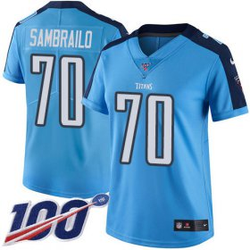 Wholesale Cheap Nike Titans #70 Ty Sambrailo Light Blue Women\'s Stitched NFL Limited Rush 100th Season Jersey