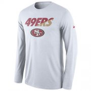 Wholesale Cheap Men's San Francisco 49ers Nike White Legend Staff Practice Long Sleeves Performance T-Shirt