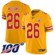 Wholesale Cheap Nike Chiefs #26 Damien Williams Gold Youth Stitched NFL Limited Inverted Legend 100th Season Jersey