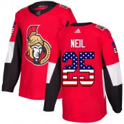 Wholesale Cheap Adidas Senators #25 Chris Neil Red Home Authentic USA Flag Stitched Youth NHL Jersey
