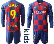 Wholesale Cheap Barcelona #9 Suarez Home Long Sleeves Kid Soccer Club Jersey