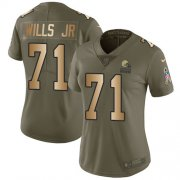 Wholesale Cheap Nike Browns #71 Jedrick Wills JR Olive/Gold Women's Stitched NFL Limited 2017 Salute To Service Jersey