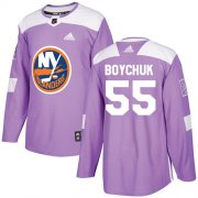 Wholesale Cheap Adidas Islanders #55 Johnny Boychuk Purple Authentic Fights Cancer Stitched Youth NHL Jersey