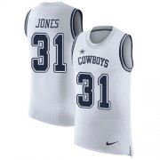 Wholesale Cheap Nike Cowboys #31 Byron Jones White Men's Stitched NFL Limited Rush Tank Top Jersey