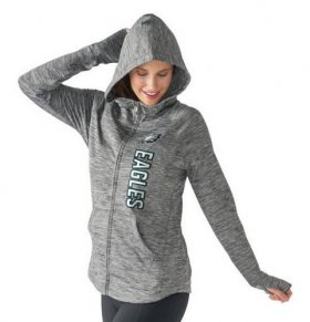 Wholesale Cheap Women\'s NFL Philadelphia Eagles G-III 4Her by Carl Banks Recovery Full-Zip Hoodie Heathered Gray